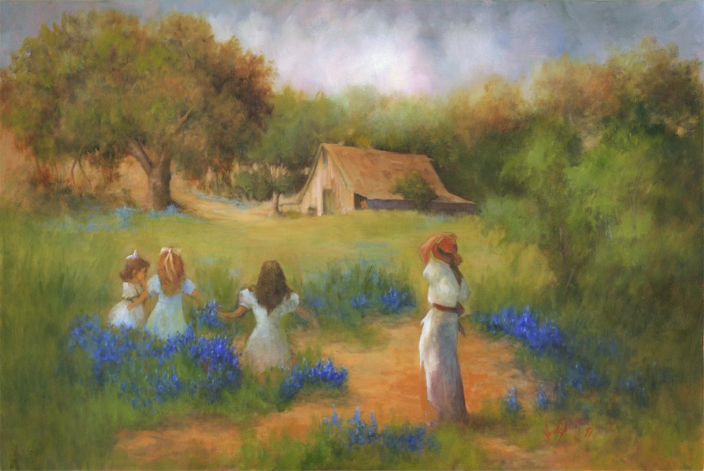 Woman and three girls in a field of bluebonnets
